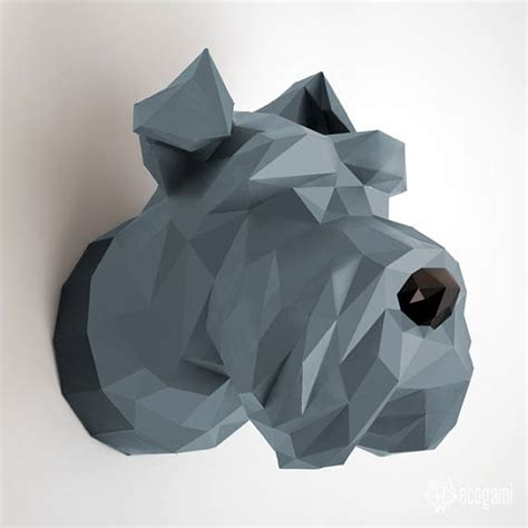 printable paper sculptures make your our schnauzer head diy papercraft wall mount