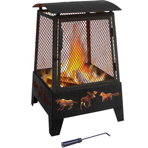 landmann haywood outdoor fireplace wildlife black