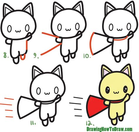 Easy Steps To Draw A Cat by How To Draw A Cat Kawaii With Easy Step