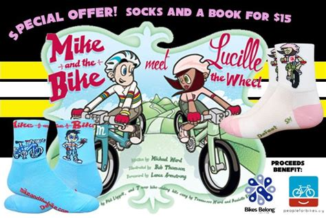 Book Mike The Bike 12x12cm defeet mike and the bike book and sock deal supports