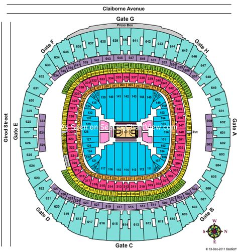 saints superdome seating map mercedes superdome new orleans la seating chart view