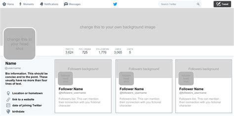 twitter template for google docs fictional twitter profiles