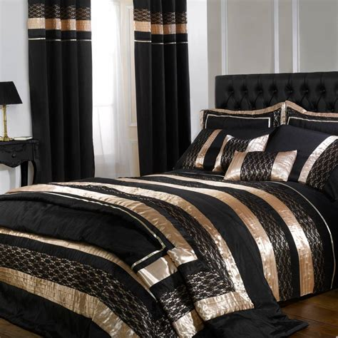 black and gold bed set black gold midnight double duvet cover set brandalley