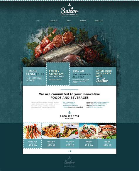 seafood restaurant responsive website template 48023