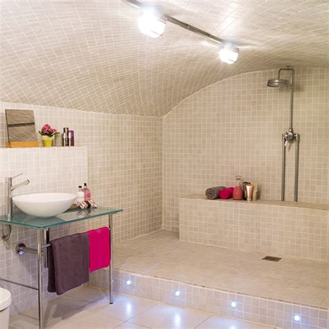 Open Shower In Small Bathroom Open Shower Bathroom Design With Arched Ceiling