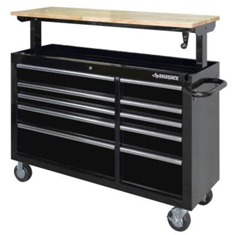 Husky 52 In 10 Drawer Clear View Mobile Workbench With by Husky 52 In 10 Drawer Mobile Workbench With Adjustable
