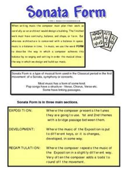 sonata form 5th 6th grade worksheet lesson planet