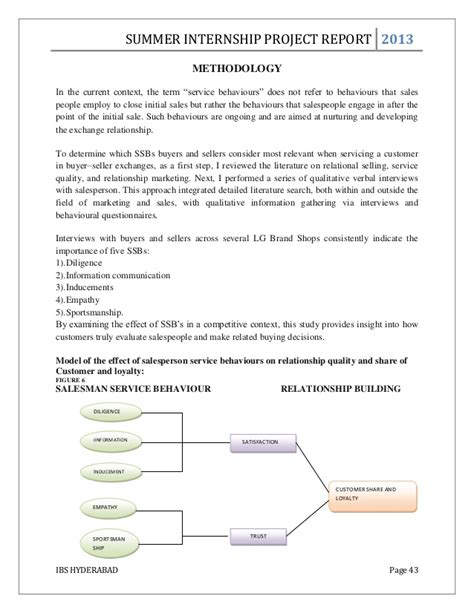 Mercer Mba Summer Internships by Mba Summer Internship Project Report