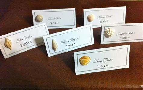 how to make table cards seashell wedding favor place cards chic dress uk