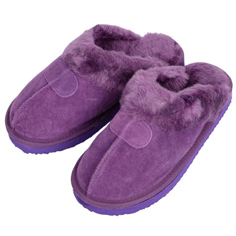 is slippers violet ego snugg suede mule slippers with faux fur