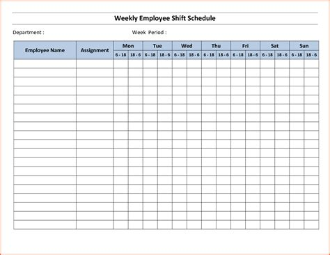 weekly work schedule template weekly work schedule template employee weekly
