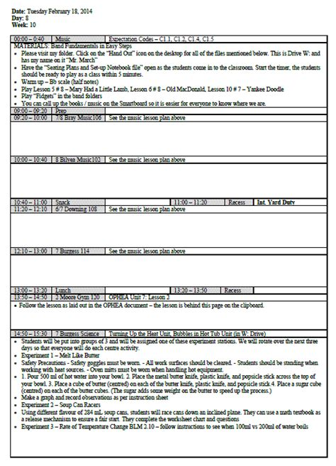 lesson plan template ontario february 2014 silent cacophony