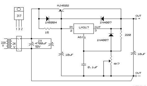 schema alimentatore stabilizzato 12v alimentatore stabilizzato con lm317 mj2955