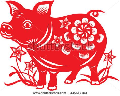 new year horoscope pig zodiac paper cut pig stock vector 335617103