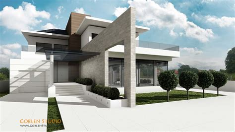 3d models luxury contemporary house architectural visualization luxury modern suburban house
