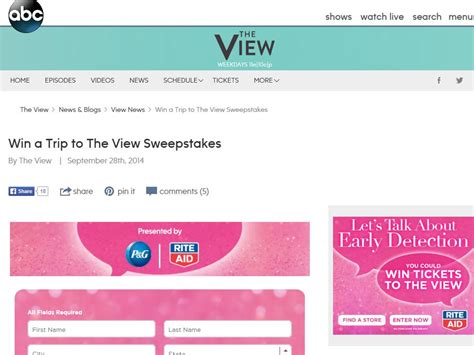 The View Sweepstakes - the view s breast cancer awareness sweepstakes