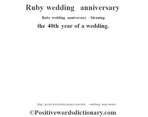 Wedding Anniversary Year Meaning by Ruby Wedding Anniversary Definition Ruby Wedding
