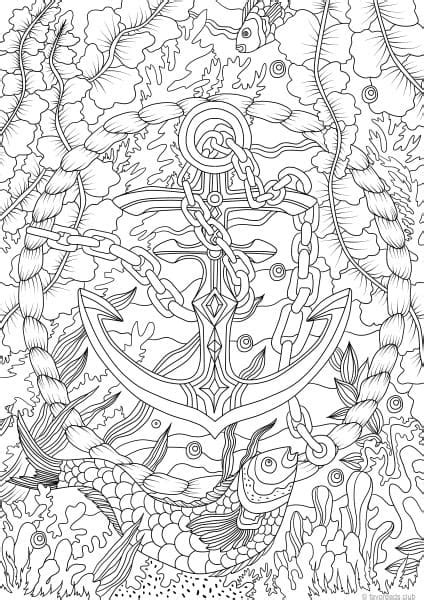 ocean life anchor printable coloring pages from