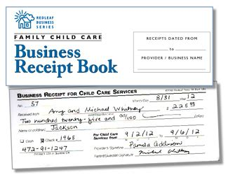 receipt book template for child care service family child care business receipt book