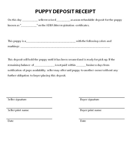 puppy receipt template uk puppy deposit receipt