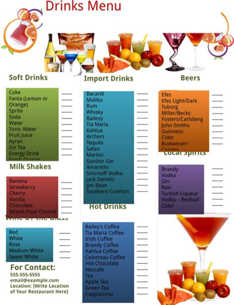 bar drink menu template drink menu template for free formtemplate