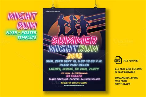 Night Run Event Flyer Poster Flyer Templates On Creative Market Color Run Flyer Template