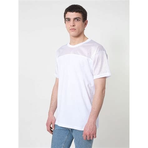 Sleeve Mesh Panel Shirt american apparel mens sleeve contrast mesh panel t