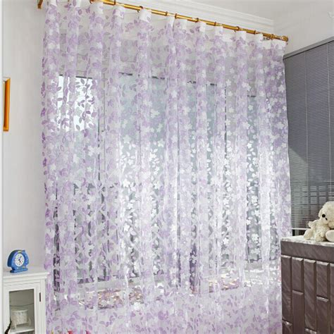 organza voile curtains 1pc 1m 2m voile curtain leaf type tulle tulle voile door