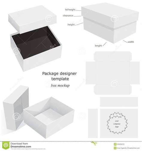 layout package package mockup box stock vector image 53435272