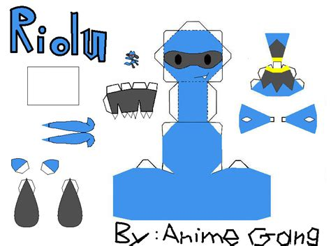Simple Papercraft Templates - riolu papercraft template by animegang on deviantart