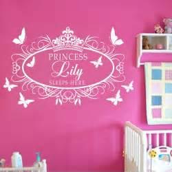princess wall art stickers custom personalised name princess crown wall art sticker
