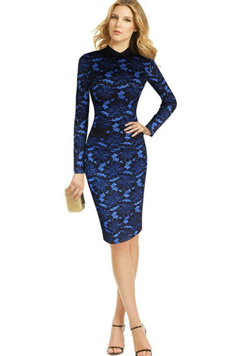 White Blue Flower Pencil Skirt Size S M L jhonpeter printed bodycon fit colar pencil dress blue jhonpeters