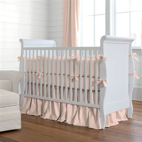 Solid Peach Crib Skirt Gathered Carousel Designs Crib Bedding Skirt