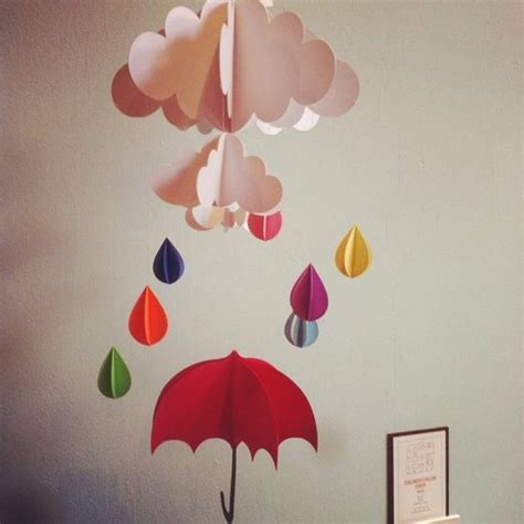 umbrella mobile pattern red umbrella and raindrops hanging baby mobile nursery