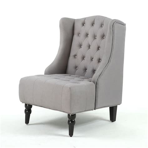 Wingback Accent Chair New Modern Wingback Accent Chair Tufted Linen Nailhead Gray Beige Ebay