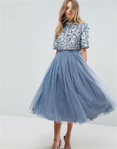 Tulle Top Dress asos asos high neck embellished crop top tulle midi dress