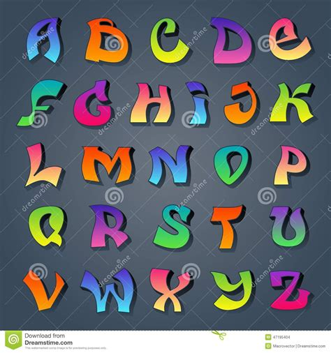 graffiti alphabet colored stock vector image  alphabet