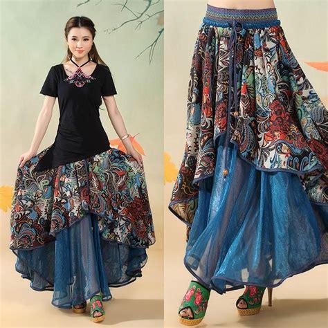 Longhem Trio Blue blue skirt bohemian big hem hippie layered skirts national trend patchwork saia