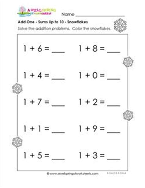 Adding 0 1 2 Worksheets by Adding 1 Snowflakes Kindergarten Adding Worksheets A