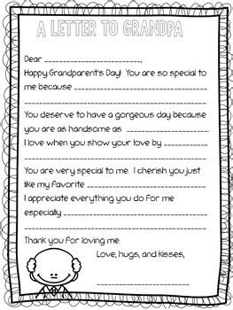 Grandparent S Day Letter Fill In The Blank By Rockin