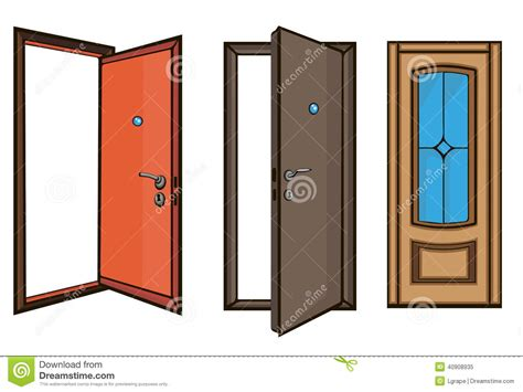 closed and open doors style stock vector image