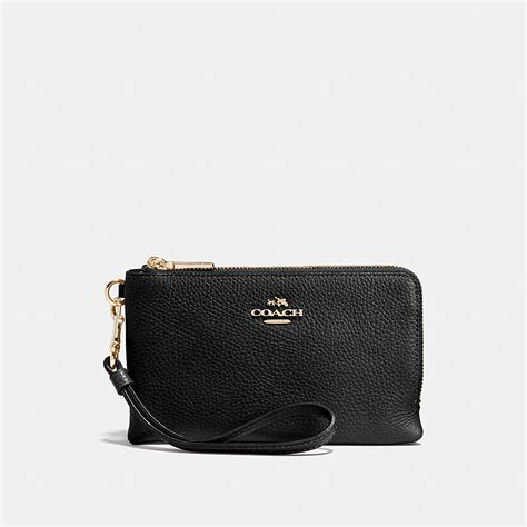 Coach Wristlet 2zip Black coach corner zip wristlet in polished pebble leather