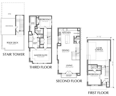 3 story townhouse floor plan with roof deck
