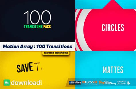 After Effects Transition Templates 100 transitions pack after effects projects motion