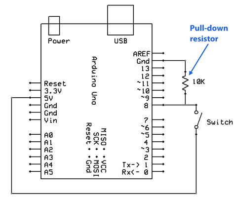arduino interrupt pull up resistor arduino uno understanding flow of current with pull up and pull circuits arduino stack