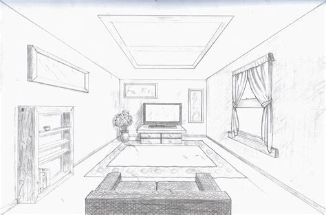 room sketch room in perspective single point perspective room by a