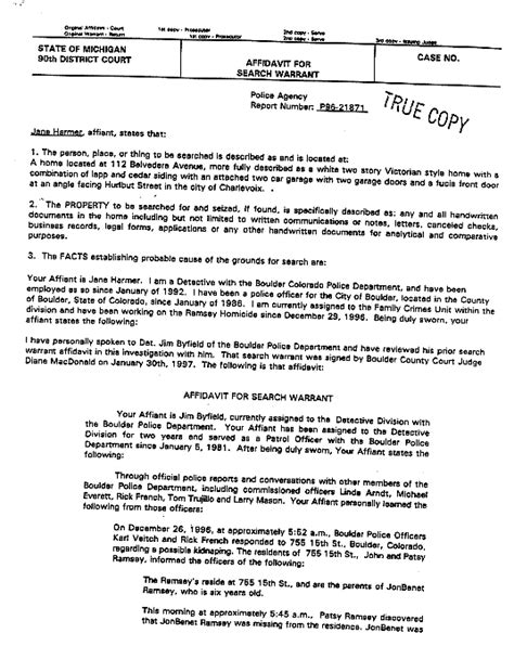 Tarrant Warrant Search Jonbenet Ramsey The Michigan Search Warrant The Gun