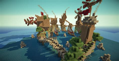 minecraft boat town travellers harbour with ship tutorial minecraft project