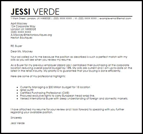 Buyers Credit Letter Format Buyer Cover Letter Sle Livecareer
