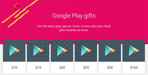 Electronic Google Play Gift Card - sending google play credit gifts seems to have quietly vanished from the play store